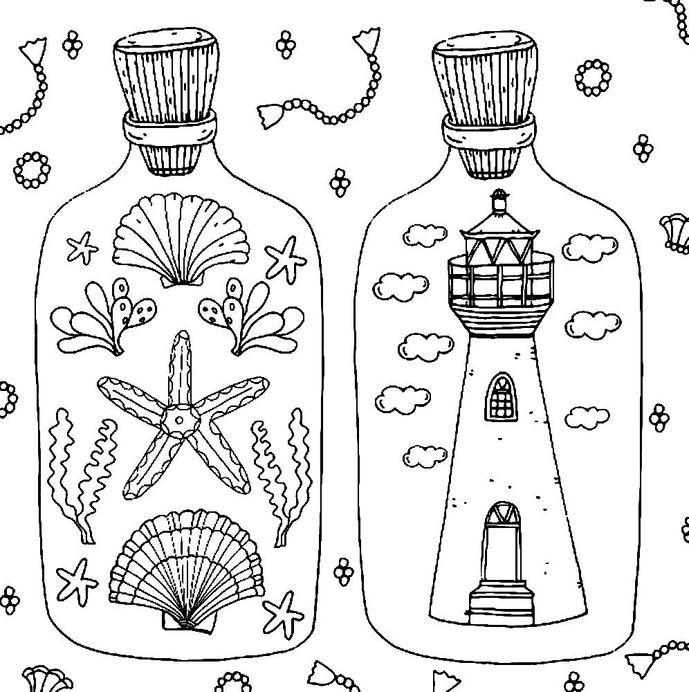Раскраска антистресс морские сувениры