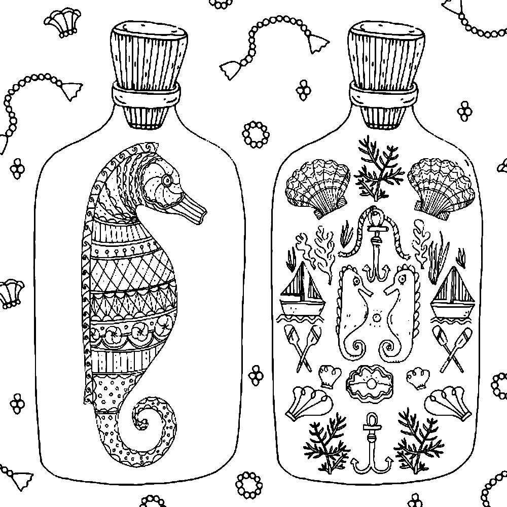 Раскраска арт терапия морские сувениры