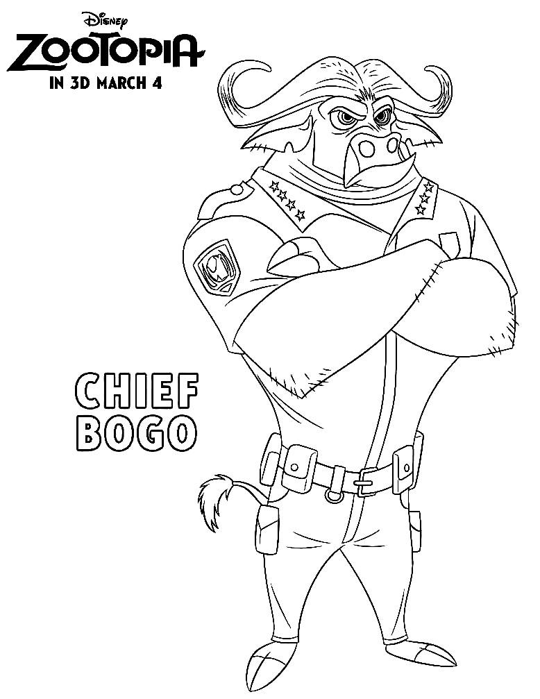 Раскраска Chief Bogo