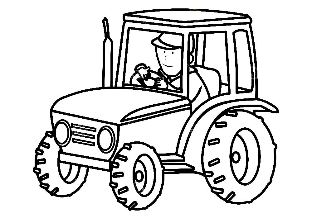 Раскраска деревенский трактор