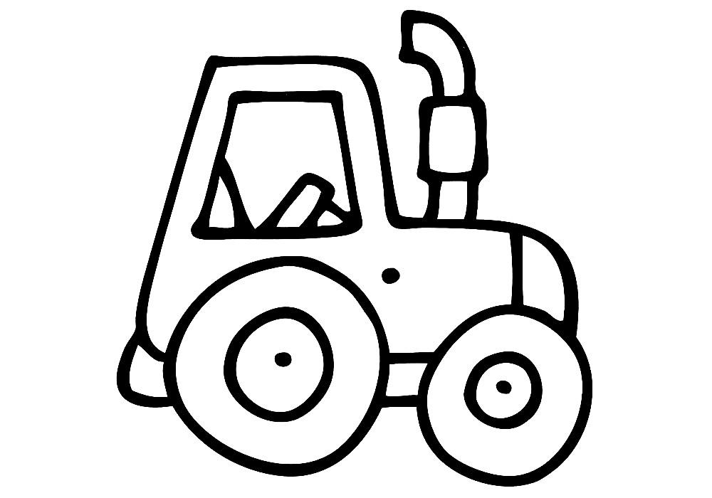 Раскраска трактор для самых маленьких