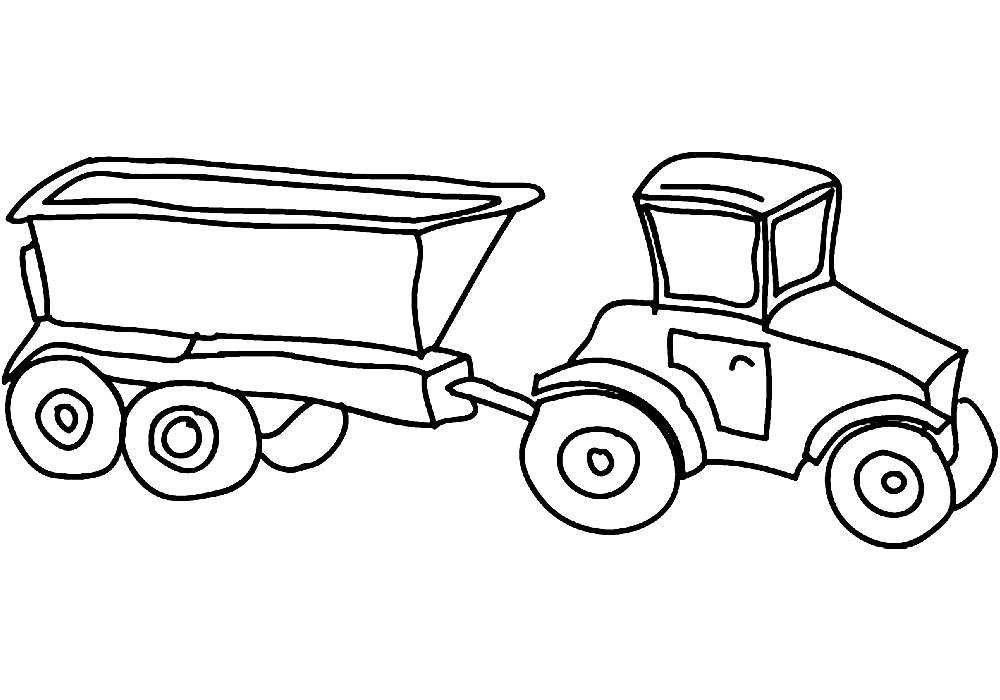 Раскраска трактор с прицепом | Раскраски для детей ...