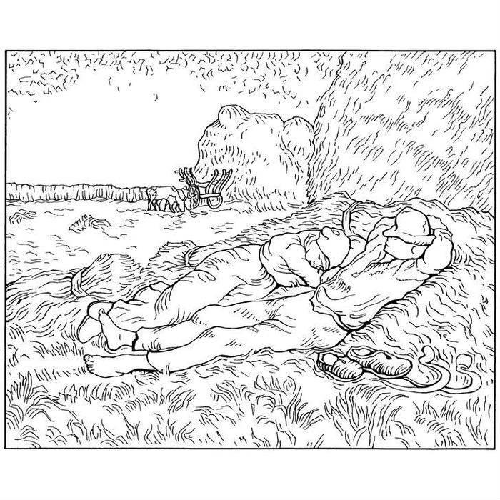 Раскраска Полуденный отдых от работы (1890)