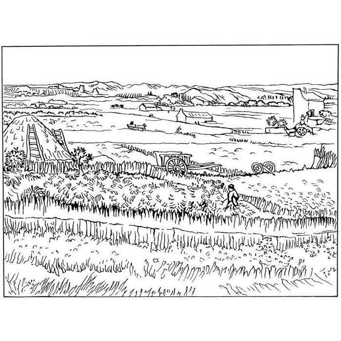 Раскраска Урожай в Ла-Кро (1888)