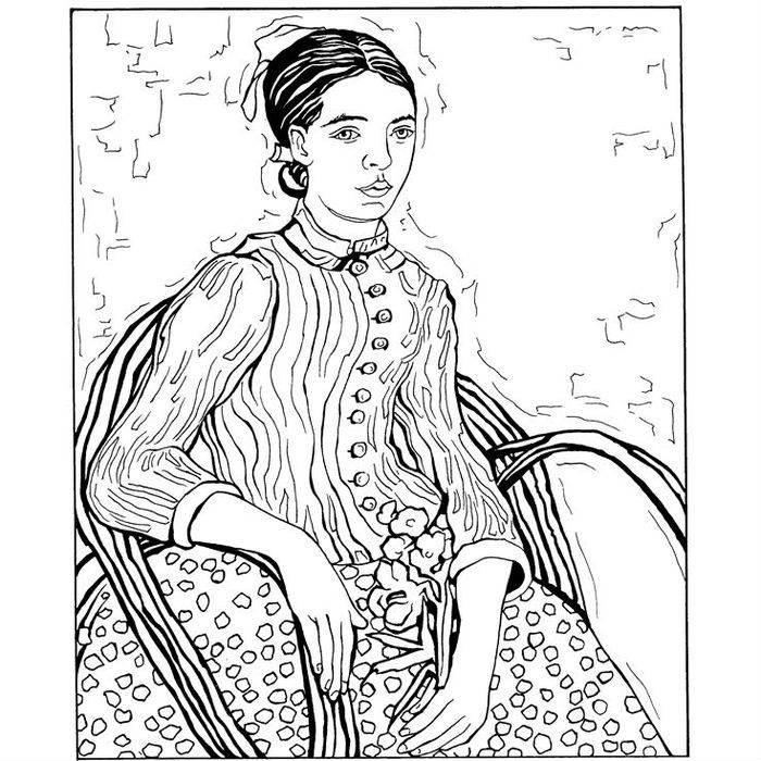 Раскраска Сидящая женщина (1988)