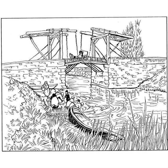 Раскраска Мост Ланглуа в Арле (1888)