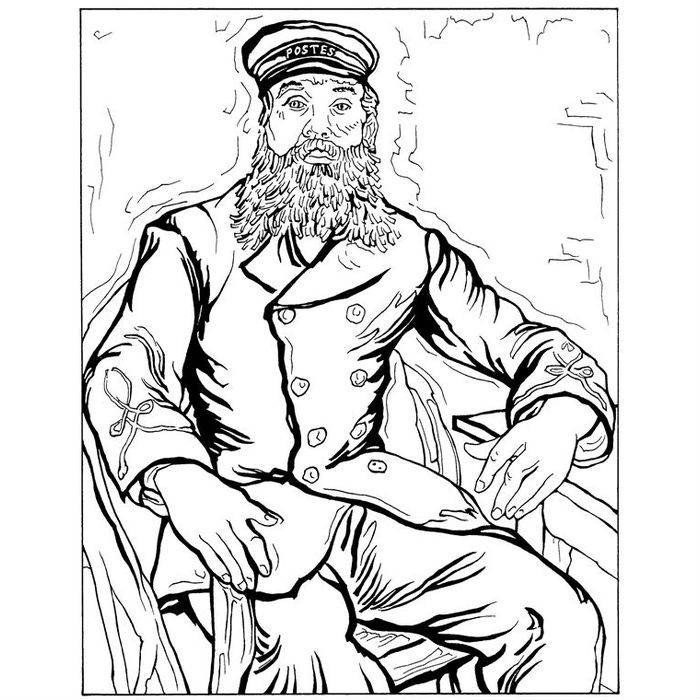 Раскраска Портрет почтальона Жозефа Рулена (1888)