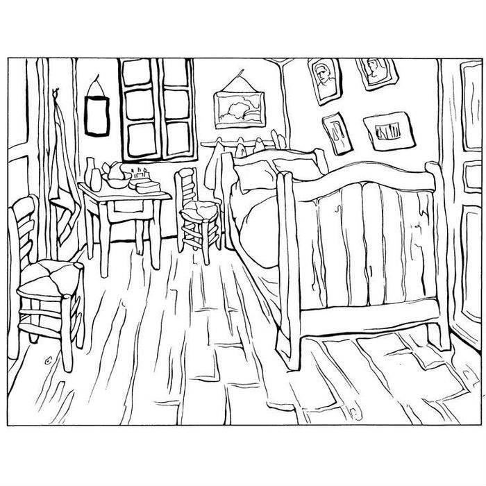Раскраска Спальня Винсента в Арле (1888)