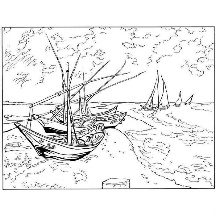 Раскраска Рыбацкие лодки на берегу Сен-Мари (1888)