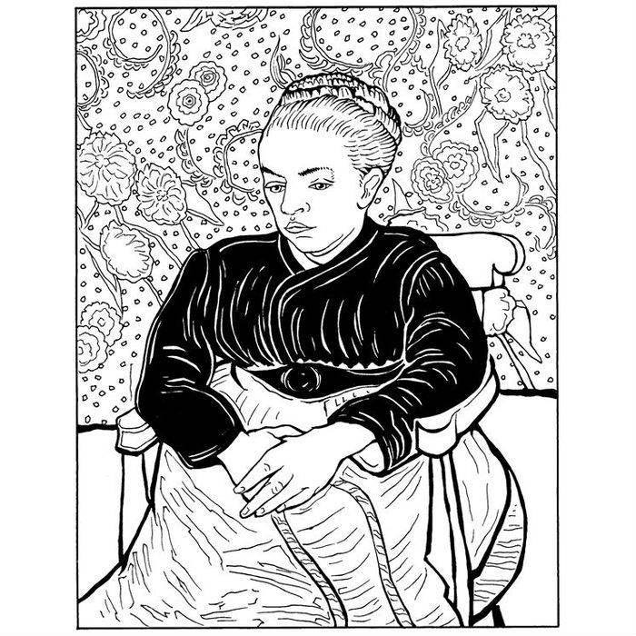 Раскраска Мадам Августина Рулен у колыбели (1889)