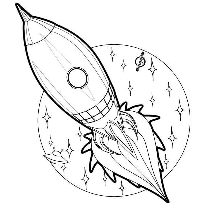 Раскраска ракета в космосе