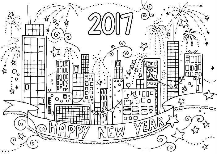 Раскраска Новый год в городе