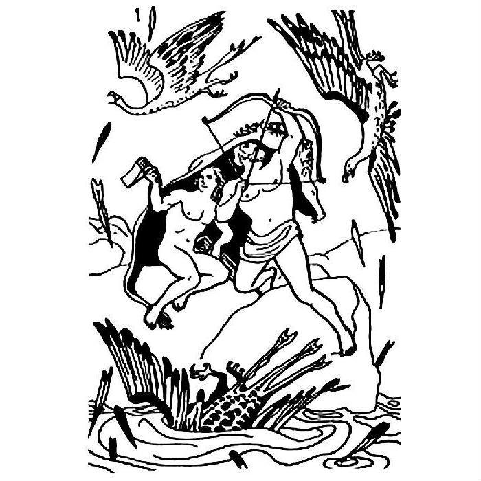 Раскраска Геракл и Иолай с трещоткой Афины
