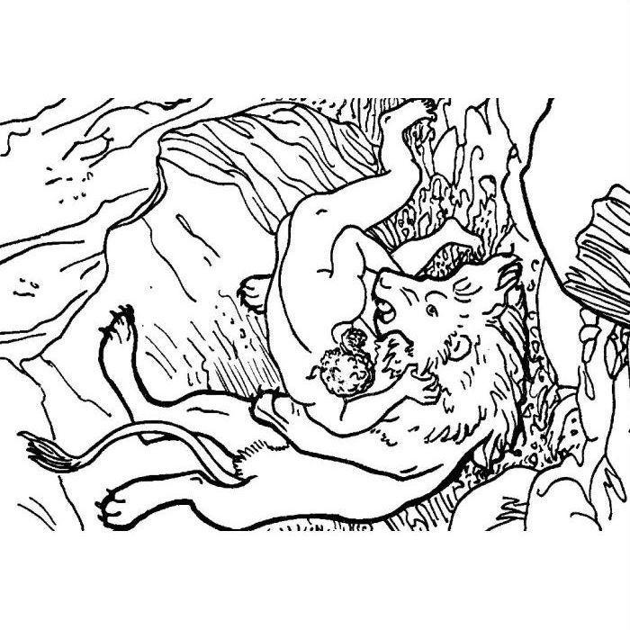 Раскраска Геракл сражается с Немейским львом