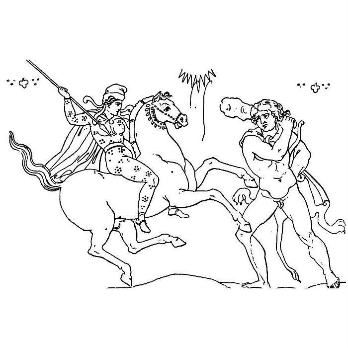 Раскраска Геракл сражается с Амазонками