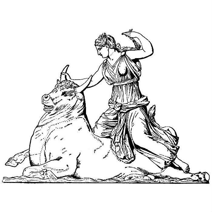 Раскраска Геракл и Критский бык