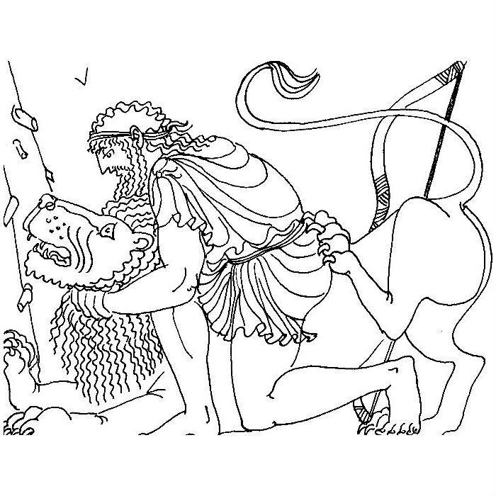 Раскраска подвиг Геракла — Немейский лев