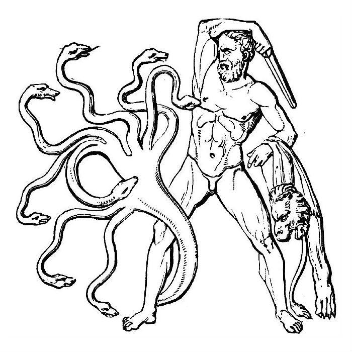 Раскраска сражение Геракла с Гидрой