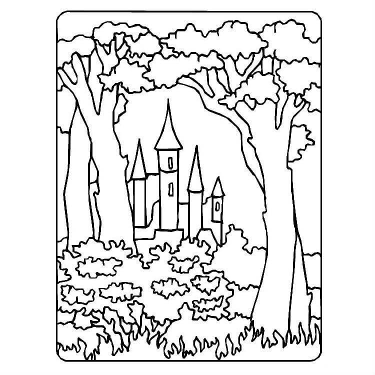 Раскраска сказочный лес