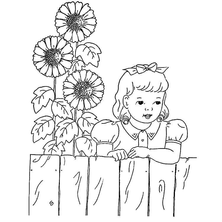 Раскраска девочка с подсолнухами