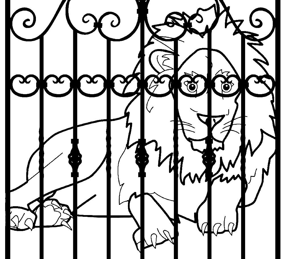 Раскраска лев в зоопарке