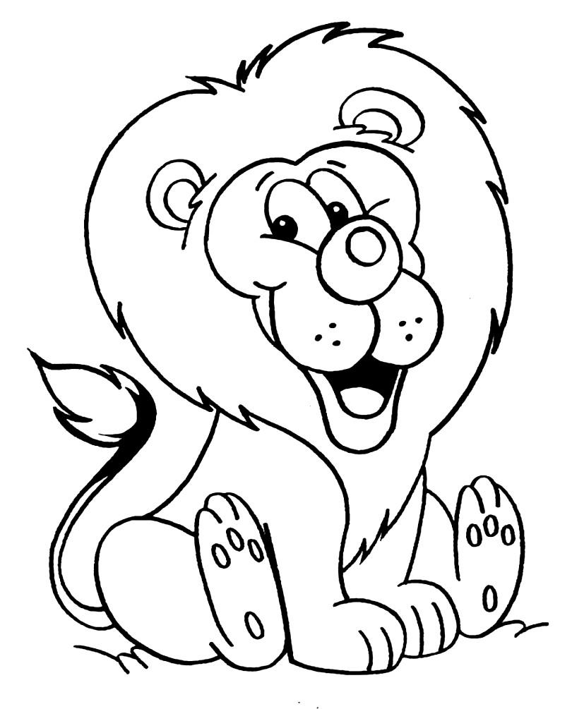 Раскраска лев для детей