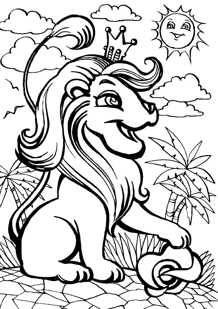Раскраска лев из мультика