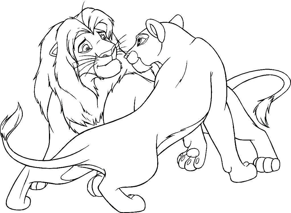 Раскраска лев и львица