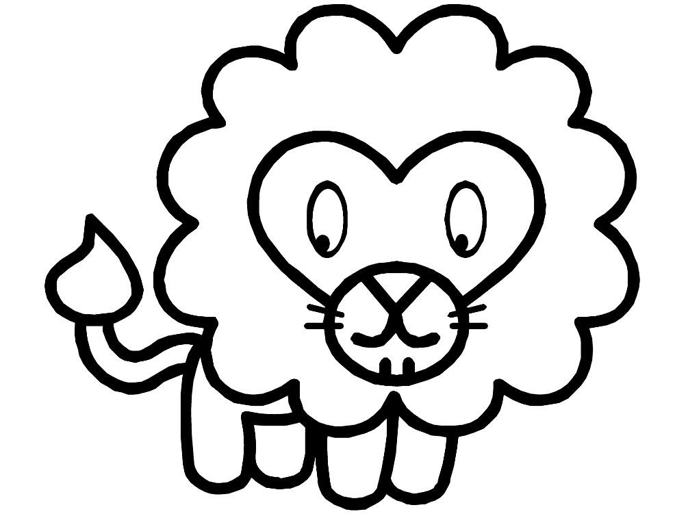 Раскраска лев для самых маленьких