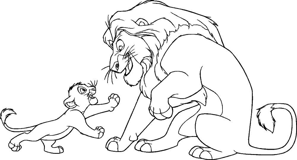 Раскраска лев и львенок