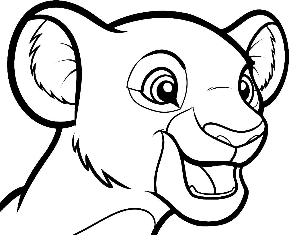 Раскраска голова львёнка