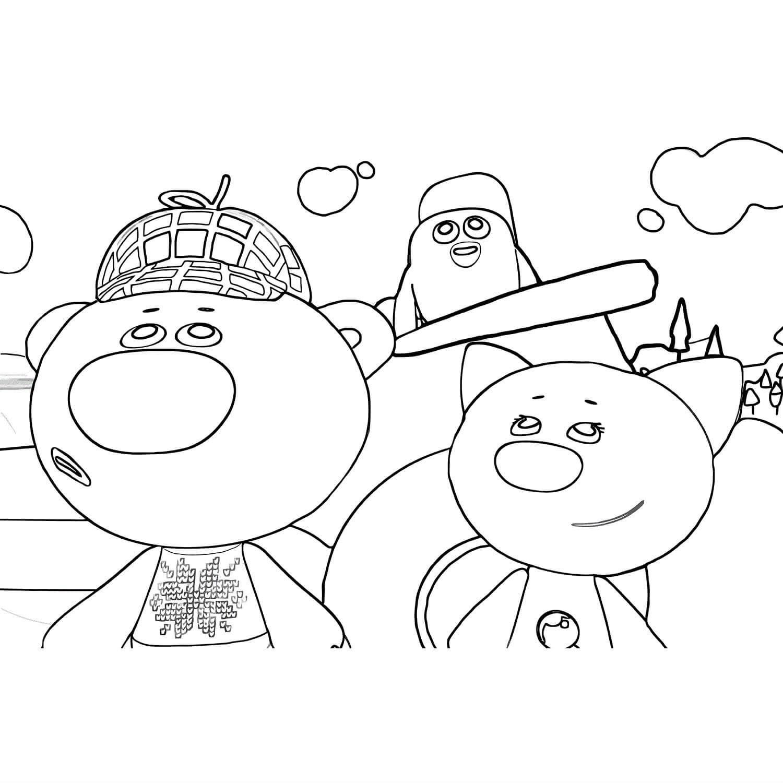 Раскраска друзья Мимимишки