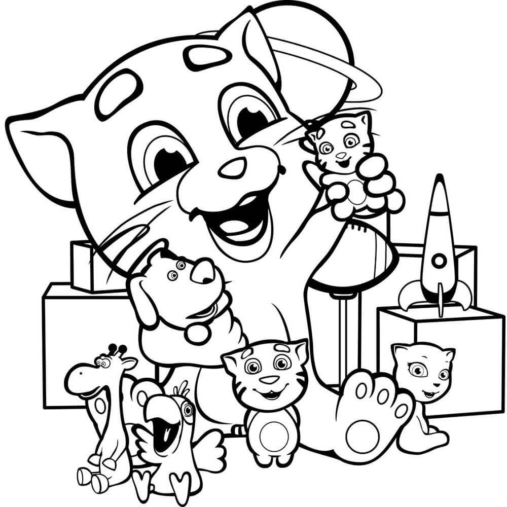 Раскраска Джинджер играет в игрушки
