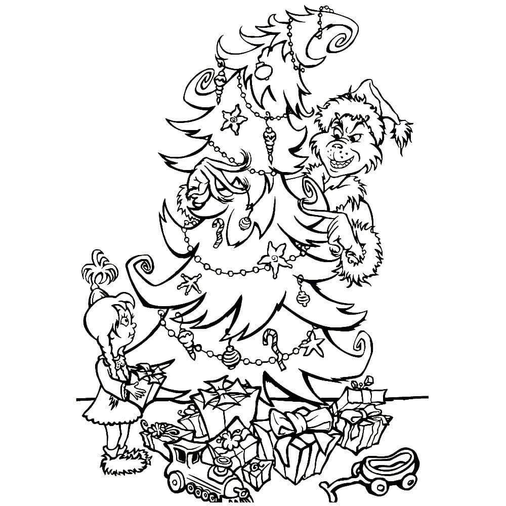 Раскраска похищение Рождественской ёлки