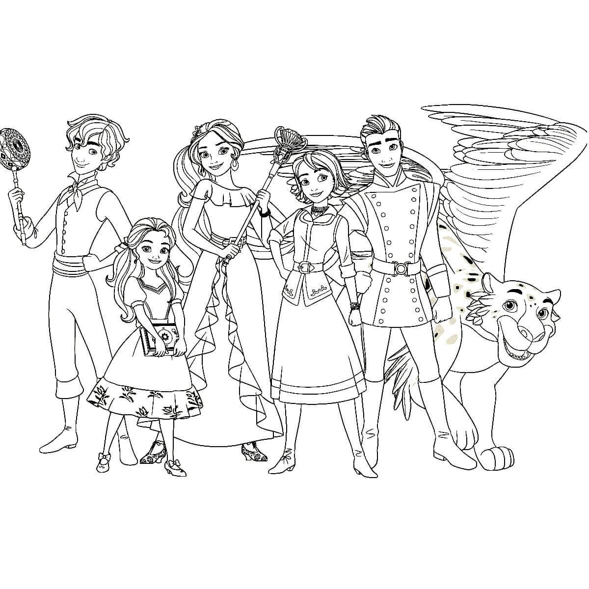 Раскраска принцесса Елена с друзьями | Раскраски для детей ...