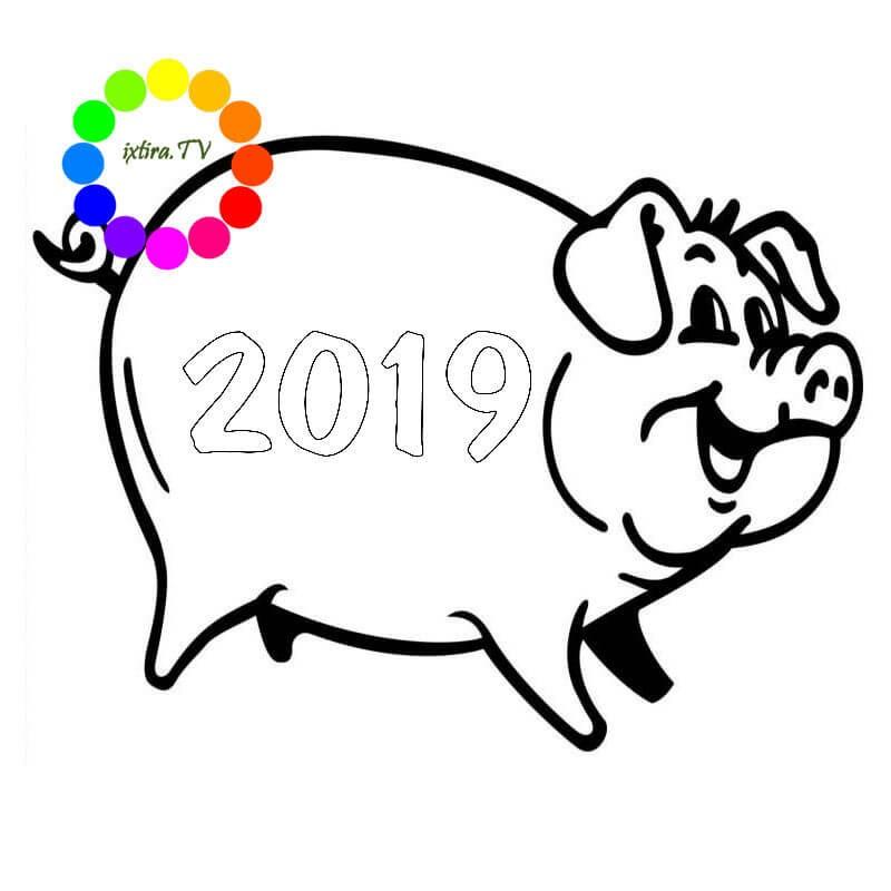 Раскраска весёлая свинья