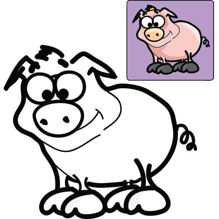 Раскраска свинья из мультика