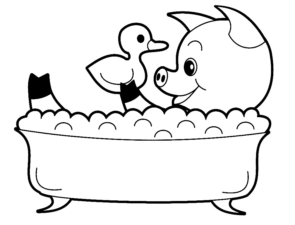Раскраска поросёнок в ванне