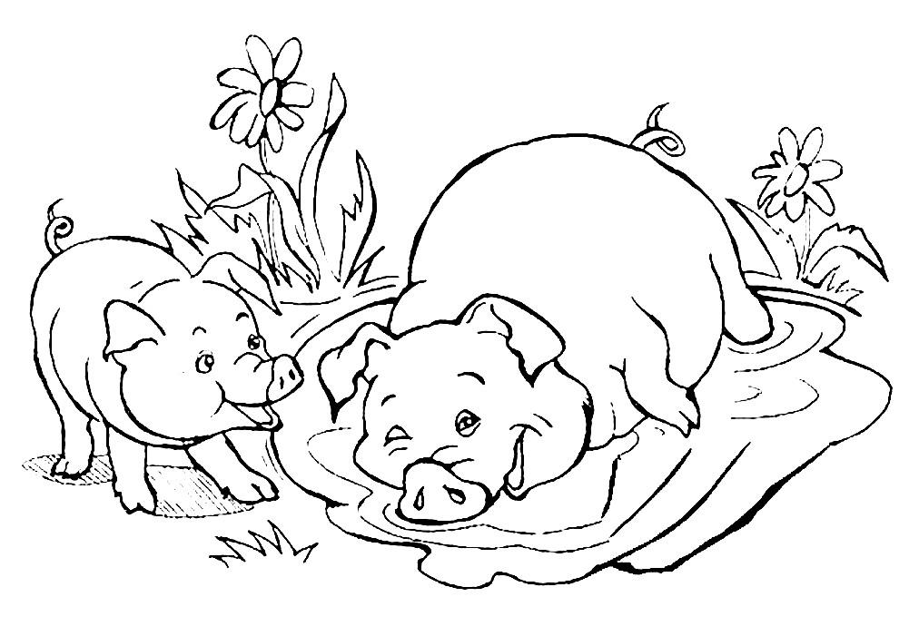 Раскраска свинья с поросенком