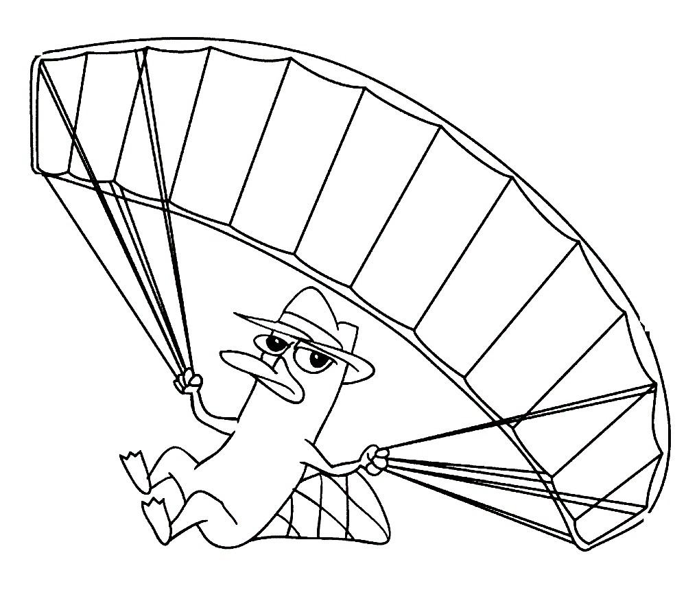 Раскраска утконос на парашюте