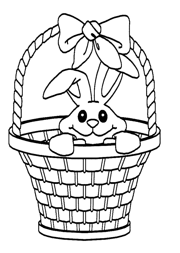 Раскраска заяц в корзине
