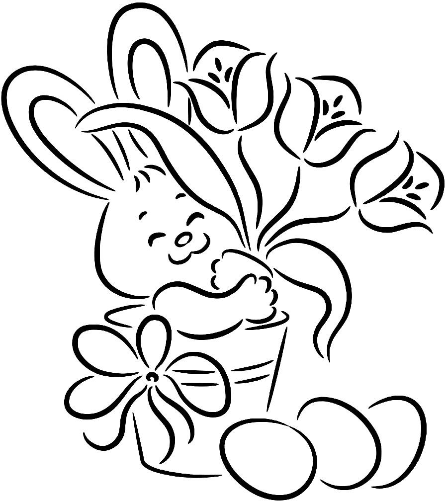 Раскраска заяц с цветами