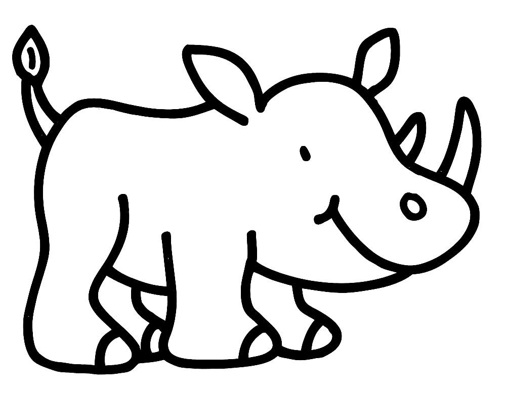 Раскраска носорог для малышей