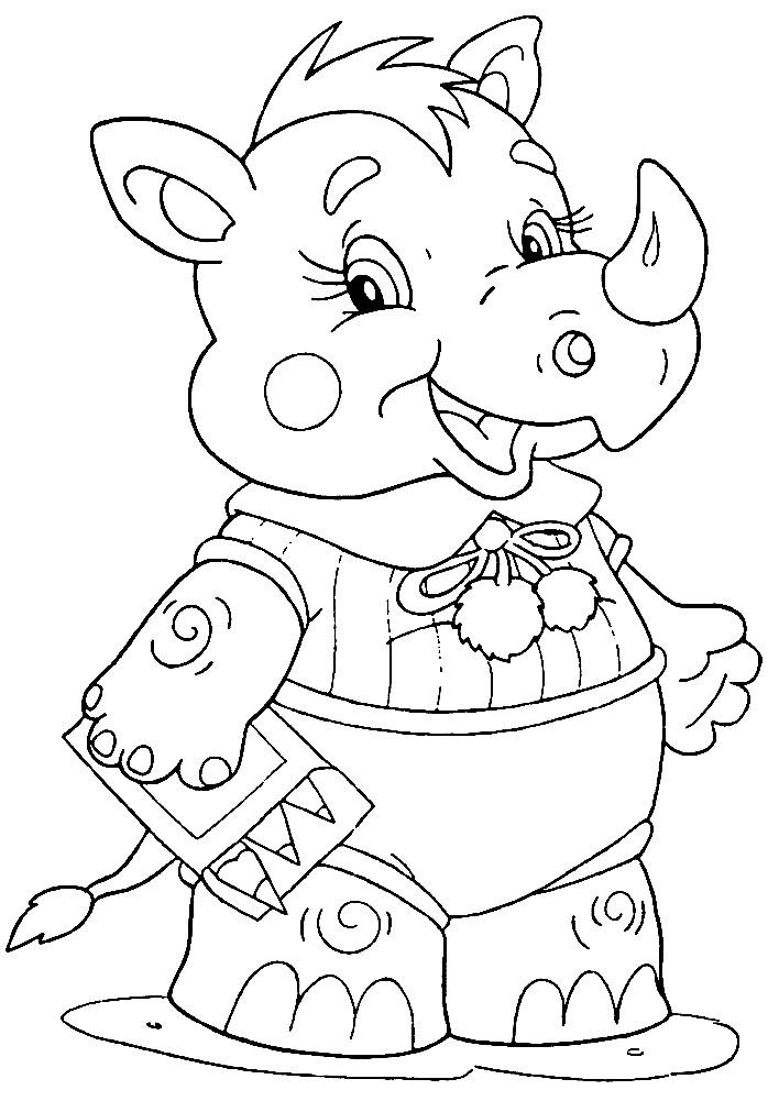 Раскраска носорог для детей