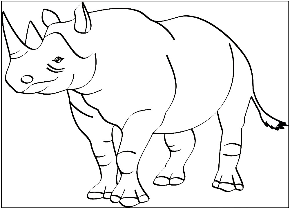 Раскраска большой носорог