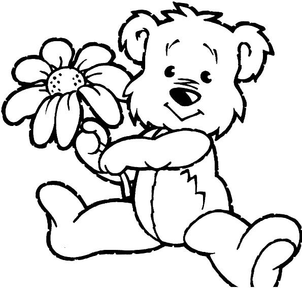 Раскраска Тедди с цветком