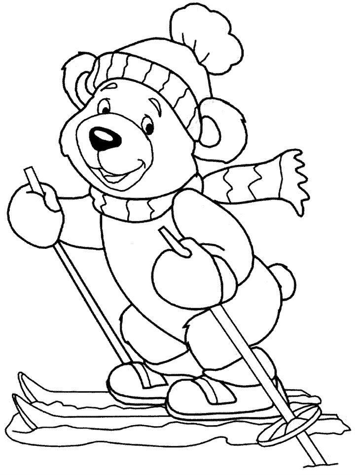 Раскраска Тедди катается на лыжах