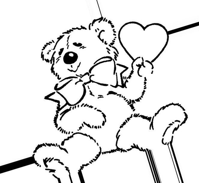 Раскраска Тедди с шариком