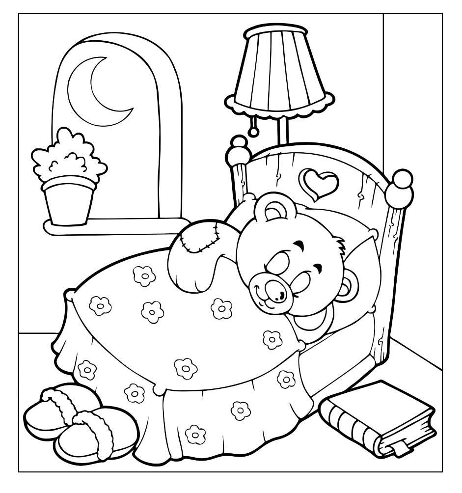 Раскраска спящий Тедди