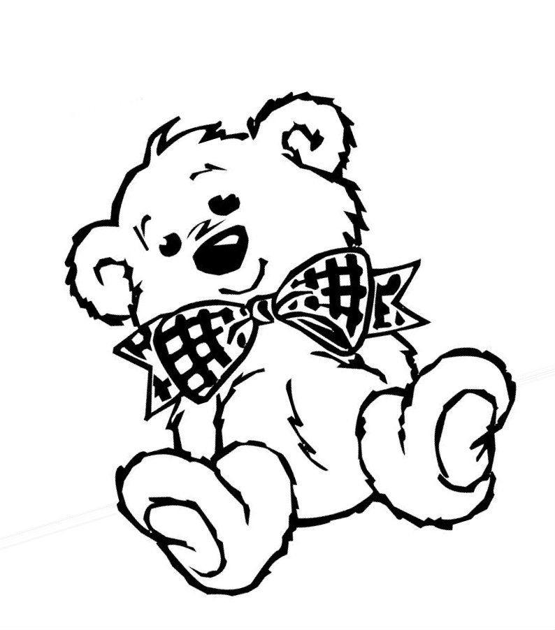 Раскраска Тедди с бантиком